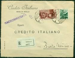 V8724 ITALIA REPUBBLICA 1947 Raccomandata Affrancata Con Repubbliche Marinare 20 L. + Democratica 1 L. Da Biella 3.4.47 - 6. 1946-.. República