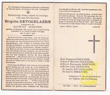 DP Brigitta Devogelaere ° Bekegem Ichtegem 1903 † Brugge 1946 X Raymond Dekeyser - Images Religieuses