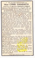 DP Cyriel Dinneweth ° Marialoop Meulebeke 1887 † 1941 X Josephine Dobbels / Tielt - Devotieprenten