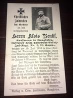 Sterbebild Wk1 Ww1 Bidprentje Avis Décès Deathcard Landwehr Ersatz IR1 AVRICOURT Lothringen RIXINGEN SAARBURG Gangkofen - 1914-18