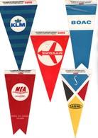 """AVION . """" LES FANIONS DES COMPAGNIES AÉRIENNES """" . KLM, SABENA, BOAC, M.E.A., SWISSAIR . PUB SAMO - Réf. N°20775 - - Publicités"""