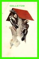 OISEAUX, BIRDS - DOWNY WOODPECKER - WATER COLOR BY FRANCIS LEE JAQUES - TRAVEL IN 1963 - - Oiseaux