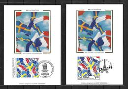 1994 Joint/Commune France And Sweden, BOTH FDC MAXIMUM CARDS: Cultural Relations - Emissions Communes