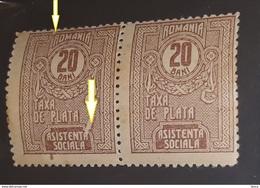 "Errors Romania 1918 Social Assistance 20b, Paar, ,spining,WITH ERRORS Broken Frame And  LEAF  Spot "" Pana"" A, - Variétés Et Curiosités"