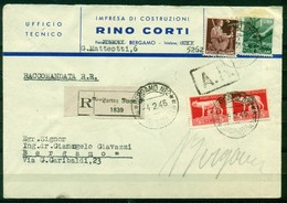 V7761 ITALIA 1946 LUOGOTENENZA Raccomandata A.R. Con Imperiale 5 L. (x 2) + Democratica 1 L. + 2 L., Da Bergamo 4.2.46 - 5. 1944-46 Lieutenance & Umberto II