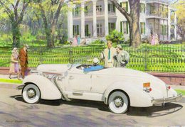 Auburn 852 Speedster  -  1936  -  Art Card By Harry Anderson   -  Carte Postale - PKW