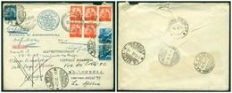 Z499 ITALIA REPUBBLICA 1948 Rispedizione Espresso Affrancato Con Democratica 10 L. (blocco Di 5, In Esatta Tariffa 50 L. - 6. 1946-.. Repubblica