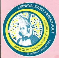 Sticker - Karnavalstoet Herenthout 1976 - Prins Guy 1 - Autocollants