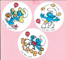 Sticker - SPANIA - Smurfen - 3 Stuks - 1984 - Peyo - Publiart - Autocollants