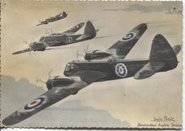 """CPSM - BOMBARDIER ANGLAIS """"BRISTOL"""" Illustration Louis PETIT - Edition Erpe (traces Punaises) - 1939-1945: 2ème Guerre"""