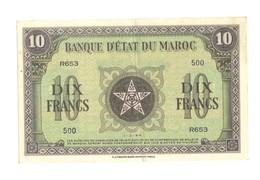 Maroc. Protectorat. Billet De 10 Francs Du 1-3-1944. - Marokko
