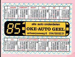 Sticker - Jaarkalender 1985 - OKE-AUTO GEEL Antwerpsesteenweg - Autocollants