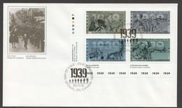 1989   World War II  _ Series 1      Sc 1260-3    Inscription Block Of 4 Different - Omslagen Van De Eerste Dagen (FDC)