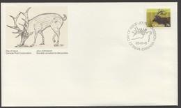 1987    Mid-value Definitive: 74 Cent  Wapiti  Sc1177    Single FDC - Omslagen Van De Eerste Dagen (FDC)