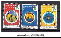 TRINIDAD & TOBAGO - 1982 75TH ANNIVERSARY OF SCOUTING - 3V MINT NH - Trinité & Tobago (1962-...)