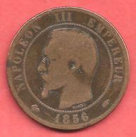 10 Centimes , NAPOLEON III Tête Nue , Bronze , 1856 A , N° F # 133.33 - D. 10 Centimes
