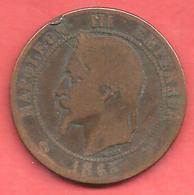 10 Centimes , NAPOLEON III Laurée , Bronze , 1863 A , N° F # 134.8 - D. 10 Centimes