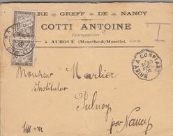 LSC 1905 - GREFF DE NANCY - COTTI Antoine à AUBOUE (Meurthe & Moselle) - Cachet Convoyeur Briey à Conflans & YT 29 - Taxes