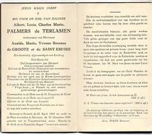 Albert Palmers De Terlamen Wed De Groote Et Du Saint Empire Afgevaardigde Limburg Burgemeester Stevoort °1862 Hasselt+49 - Décès