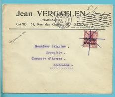"""BZ 3 Op Brief """"Jean VERGAELEN / Pharmacien, Stempel BRUXELLES, Zegel Ontwaard Met Potlood !! - WW I"""