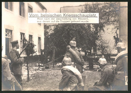 Riesen-AK Kriegsschauplatz Belgien, Rast Nach Der Beschiessung Von Häusern - Oorlog 1914-18