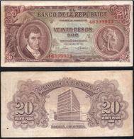 COLOMBIA - 1961- VEINTE PESOS  ( $ 20 ) - CIRCULATED. CONDITION 5/10 - Colombie