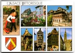 **L'ALSACE PITTORESQUE & BLASON ** Enfants Costume Folklorique MultiVues (Colmar, Strasbourg, Riquewihr Eguisheim) NEUVE - France