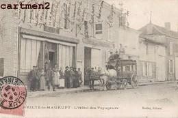 HEILTZ-LES-MAURUPTZ 1900 L'HOTEL DES VOYAGEURS ANIME DILIGENCE ATTELAGE 51 MARNE - Frankreich