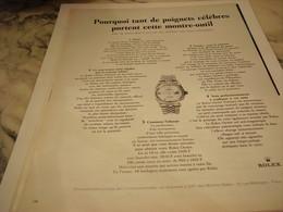 ANCIENNE PUBLICITE POIGNETS CELEBRES  MONTRE OUTIL ROLEX 1965 - Autres