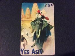 CARTE PREPAYEE ETHNIQUE ASIE YES ASIA *7,5€  1111  ELEPHANT - Autres Prépayées