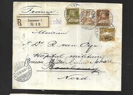 Suisse Lettre  Recommandée De Lausanne Le 17 Mars 1916  Vers  Calais ( Bureau Militaire ) - Schweiz