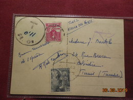 Carte De 1953 A Destination De Tunis Avec Taxe Percue A L Arrivée - 1951-60 Storia Postale