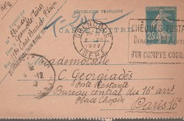 ENTIER SEMEUSE 25C - 140-CL2 - GRENOBLE 2/12/22 TAXEE EN POSTE RESTANTE POUR PARIS -                    TDA269A - 1921-1960: Modern Period