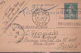 ENTIER SEMEUSE 25C - 140-CL2 - GRENOBLE 2/12/22 TAXEE EN POSTE RESTANTE POUR PARIS -                    TDA269A - Postmark Collection (Covers)