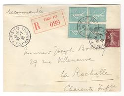 14848 -   4 TP Semeuse  50 C Turquoise - Storia Postale