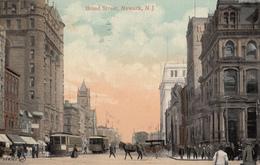 Vintage 1908 - Newark New Jersey NJ USA - Broad Street - Horses Tramway Animated - Stamp Postmark - 2 Scans - United States
