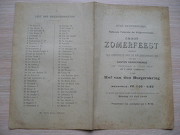 Dendermonde Krijgsverminkten Eerste Wereldoorlog 1919 Zomerfeest - Programs