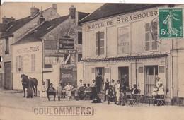 77 COULOMMIERS - Hôtel De Strasbourg, Constant LEFEUR - Station Des Étalons De L'État - Très Animée - 2 Scans - Coulommiers