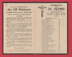 Rossignol Et Arlon - Souvenir Mortuaire Avec Les Noms Des 125 Victimes Civiles , Fusillés En Août 1914 - Oorlog 1914-18