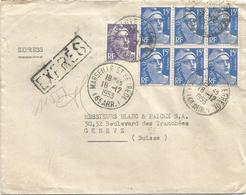 GANDON 15FR BLEU BLOC DE 6 +5FR VIOLET LETTRE EXPRES MARSEILLE 18.12.1953 POUR SUISSE AU TARIF - 1945-54 Marianne Of Gandon