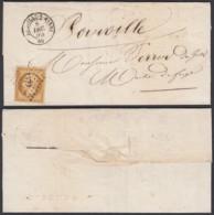 """FRANCE Yv 9 MARGE SUR LETTRE  08/12/1854 DATE DE """"AUTIGNY LE PETIT (DD) DC-2287 - 1852 Louis-Napoleon"""