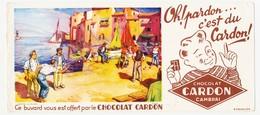 Buvard 23.6 X 10.5 Chocolat CARDON Cambrai Nord (= N° 6 Non Inscrit) Pétanques Sur Les Quais D'un Port Méditerranéen * - Chocolat