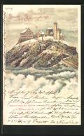 Lithographie Riesengebirge, Schneekoppe Mit Station - Schlesien