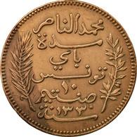 Monnaie, Tunisie, Muhammad Al-Nasir Bey, 10 Centimes, 1912, Paris, TTB+, Bronze - Túnez