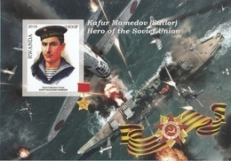 Rwanda 2016 Hero Soviet Union Eroi Russia Kafur Mamedov (Sailor) Imperf. MNG - Seconda Guerra Mondiale