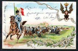 CARTOLINA - CV2557 MILITARI REGGIMENTALI Cavalleggeri Guide, Campagna Rossa Monzambano, Viaggiata 1908 Da Voghera A Fire - Reggimenti