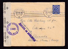 """1946 - Brief Ab Hamburg Nach Schweden - Zensur Und """"ZURÜCK AN ABSENDER"""", Handschriftlich """"Sprache Unzulässig"""" - Zone AAS"""