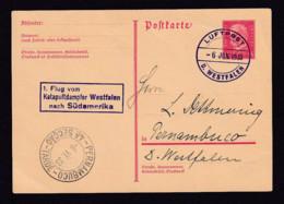 6.6.1933 - 15 Pf. Ganzsache Mit Luftpost-Stempel Vom Dampfer Westfalen Nach Pernambuco - 1. Katapultflug Nach Südamerika - Airplanes