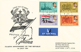 Ghana FDC 1-7-1964 4th Anniversary Of The Republic Complete Set Of 4 With Cachet - Ghana (1957-...)