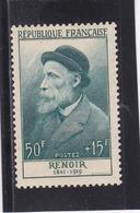 FRANCE 1955 CELEBRITES PIERRE AUGUSTE RENOIR 50F + 15F BLEU VERT N° 1032 ** - France